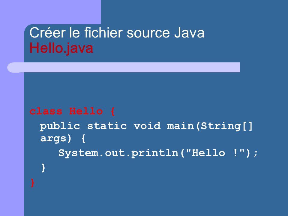 Créer le fichier source Java Hello.java