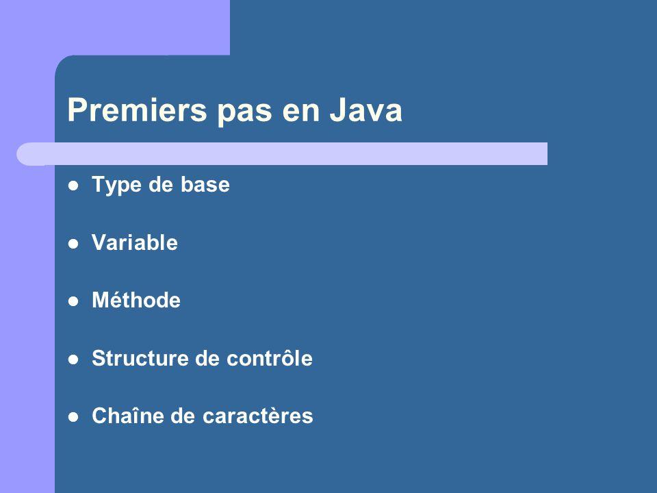 Premiers pas en Java Type de base Variable Méthode
