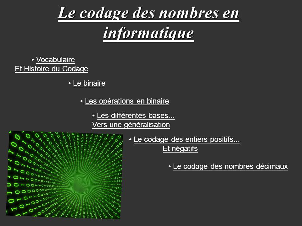 Le codage des nombres en informatique