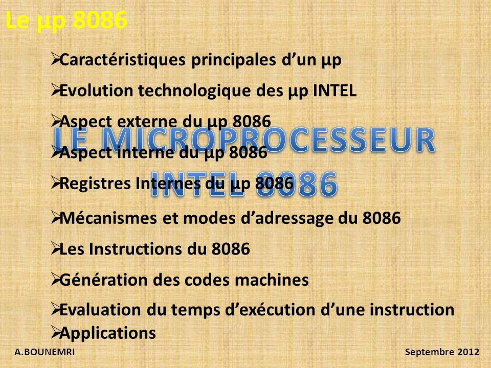 LE MICROPROCESSEUR INTEL 8086