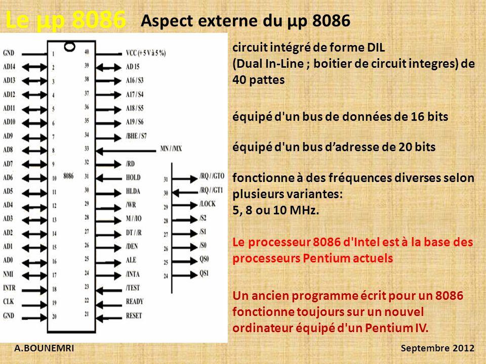 Le µp 8086 Aspect externe du µp 8086 circuit intégré de forme DIL