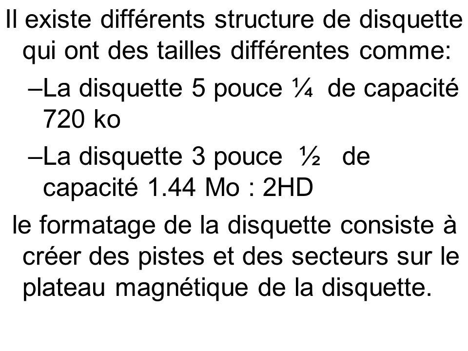 Il existe différents structure de disquette qui ont des tailles différentes comme: