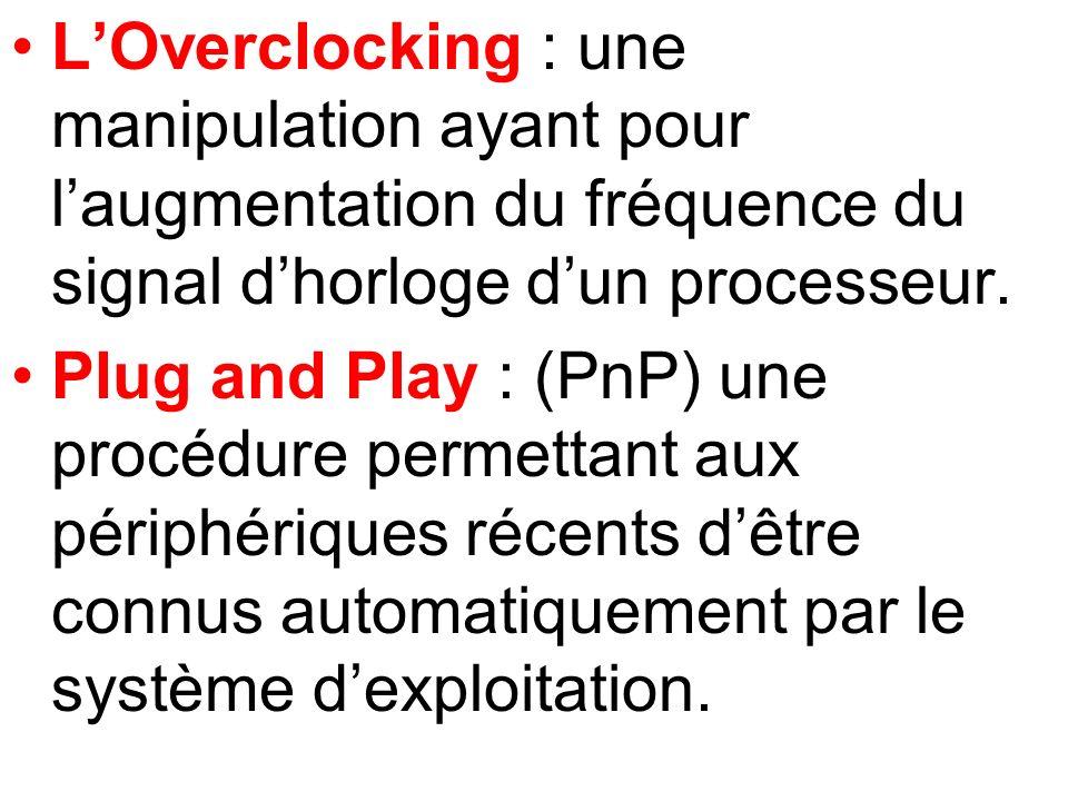 L'Overclocking : une manipulation ayant pour l'augmentation du fréquence du signal d'horloge d'un processeur.