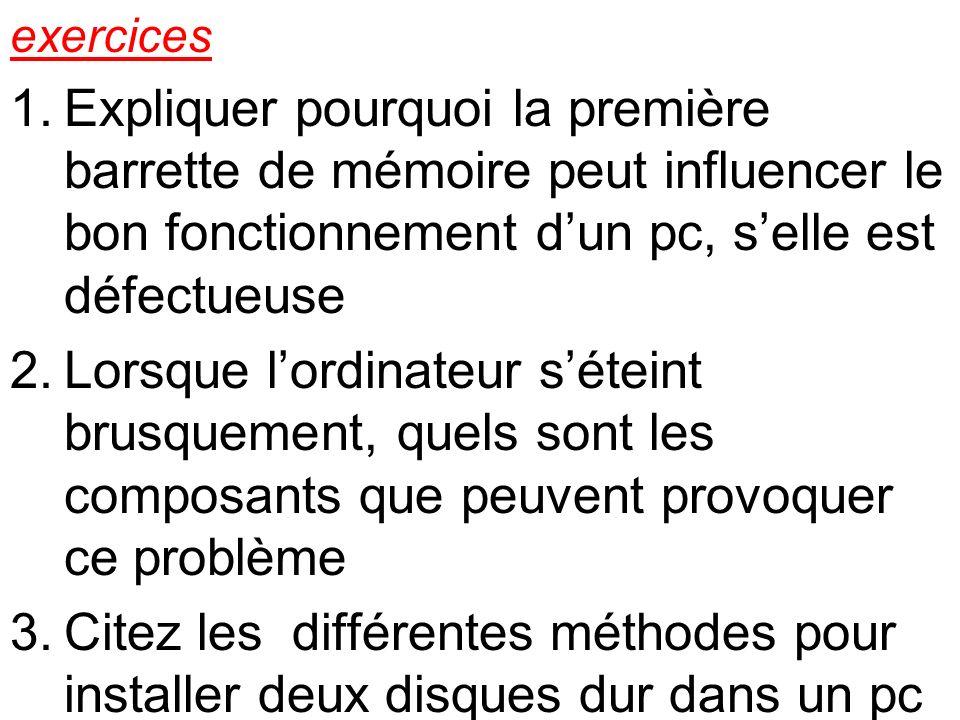 exercices Expliquer pourquoi la première barrette de mémoire peut influencer le bon fonctionnement d'un pc, s'elle est défectueuse.