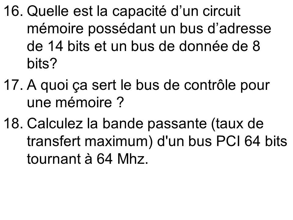 Quelle est la capacité d'un circuit mémoire possédant un bus d'adresse de 14 bits et un bus de donnée de 8 bits