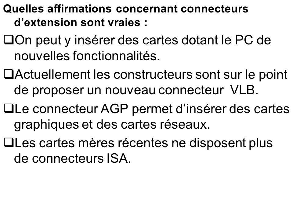 Les cartes mères récentes ne disposent plus de connecteurs ISA.