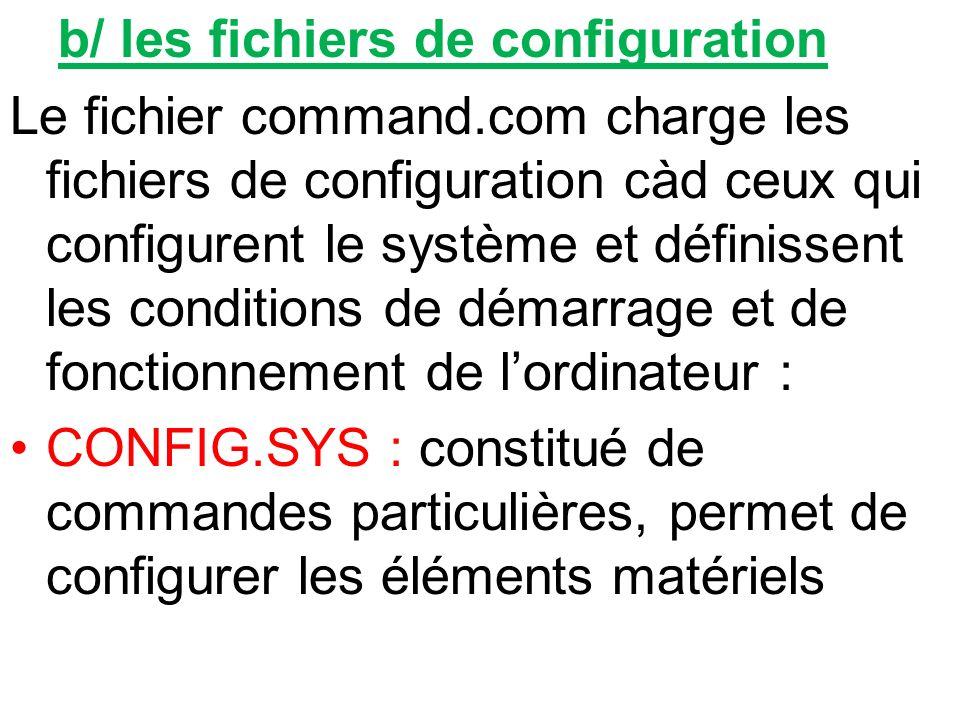 b/ les fichiers de configuration