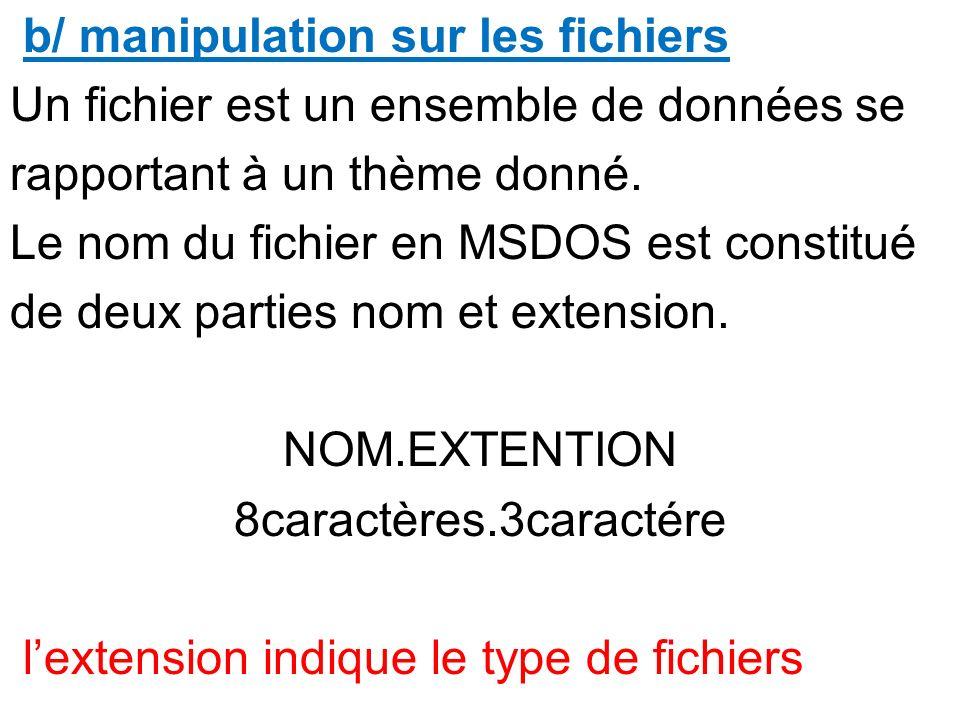 b/ manipulation sur les fichiers Un fichier est un ensemble de données se rapportant à un thème donné.
