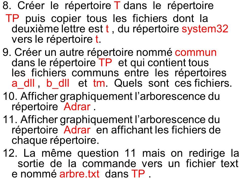 8. Créer le répertoire T dans le répertoire