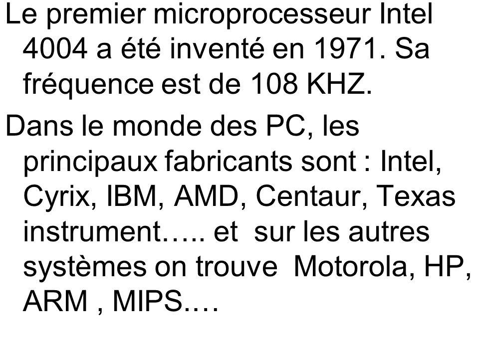 Le premier microprocesseur Intel 4004 a été inventé en 1971