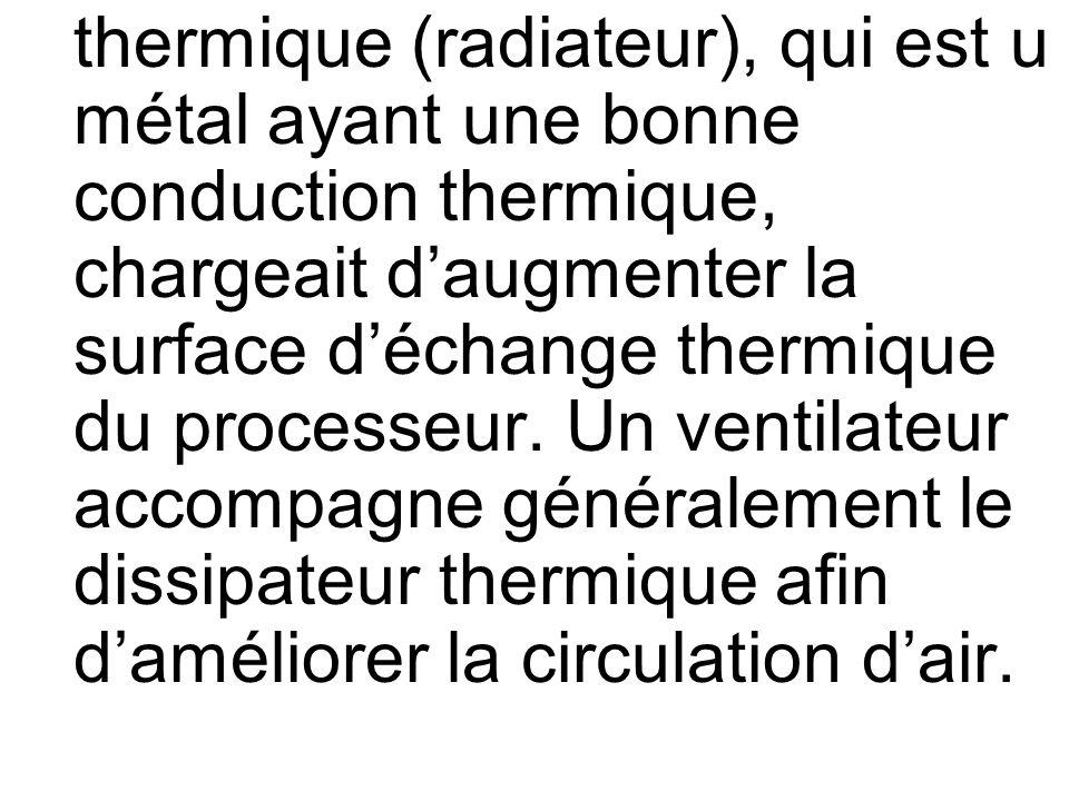 thermique (radiateur), qui est u métal ayant une bonne conduction thermique, chargeait d'augmenter la surface d'échange thermique du processeur.