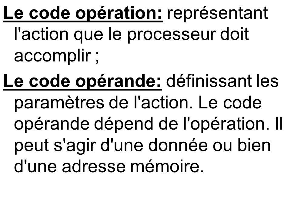 Le code opération: représentant l action que le processeur doit accomplir ;
