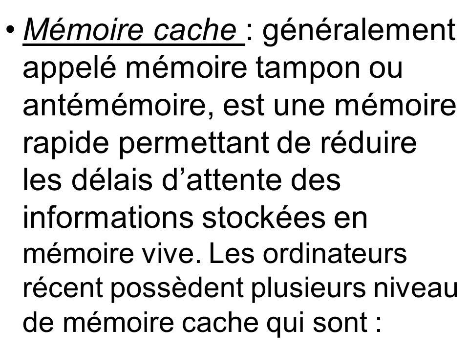 Mémoire cache : généralement appelé mémoire tampon ou antémémoire, est une mémoire rapide permettant de réduire les délais d'attente des informations stockées en mémoire vive.