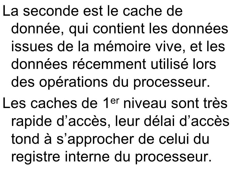 La seconde est le cache de donnée, qui contient les données issues de la mémoire vive, et les données récemment utilisé lors des opérations du processeur.