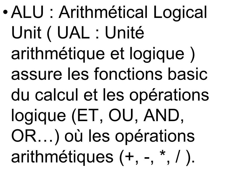 ALU : Arithmétical Logical Unit ( UAL : Unité arithmétique et logique ) assure les fonctions basic du calcul et les opérations logique (ET, OU, AND, OR…) où les opérations arithmétiques (+, -, *, / ).