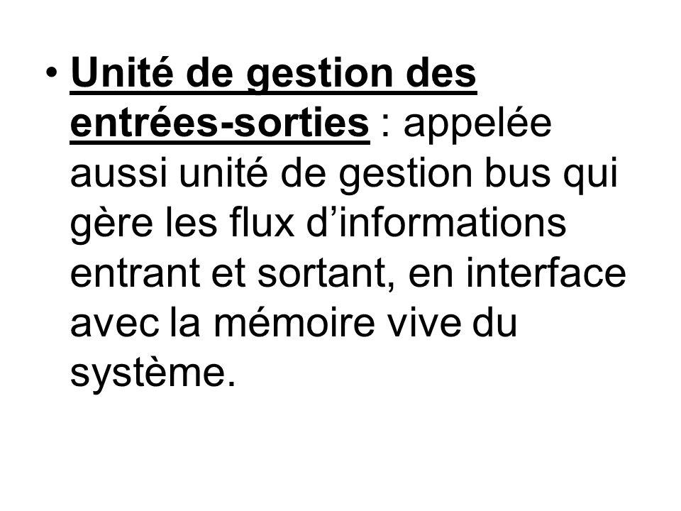 Unité de gestion des entrées-sorties : appelée aussi unité de gestion bus qui gère les flux d'informations entrant et sortant, en interface avec la mémoire vive du système.