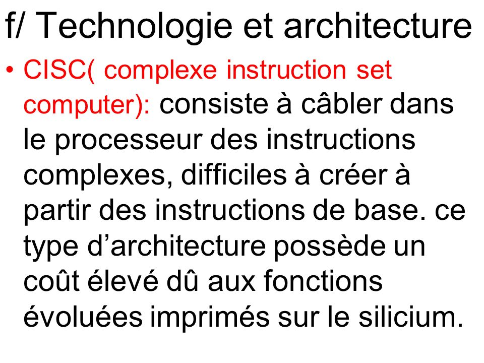 f/ Technologie et architecture