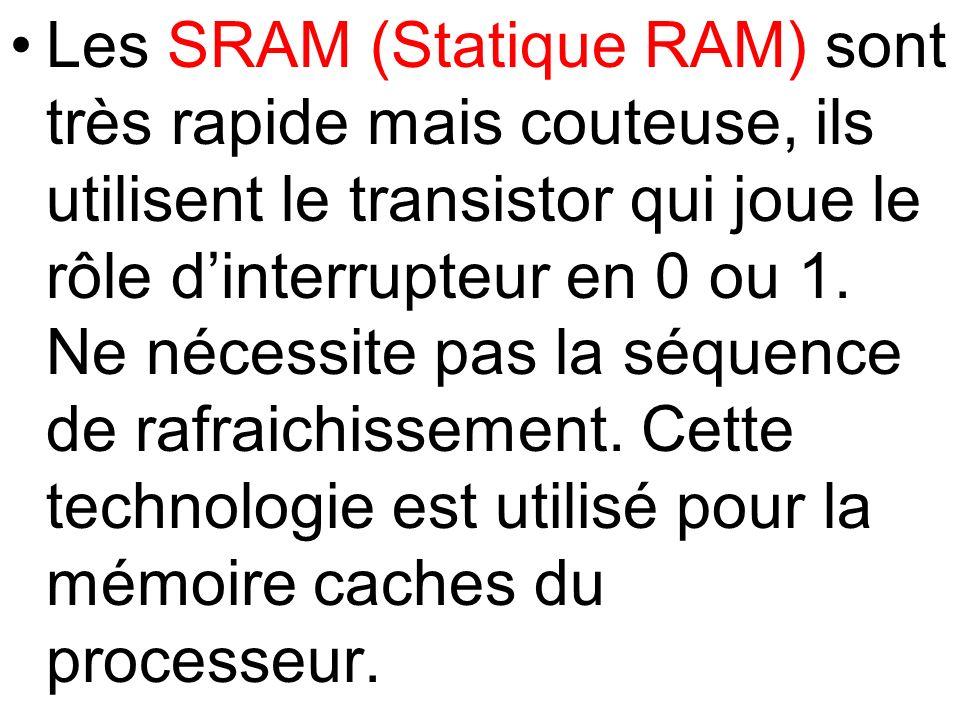Les SRAM (Statique RAM) sont très rapide mais couteuse, ils utilisent le transistor qui joue le rôle d'interrupteur en 0 ou 1.
