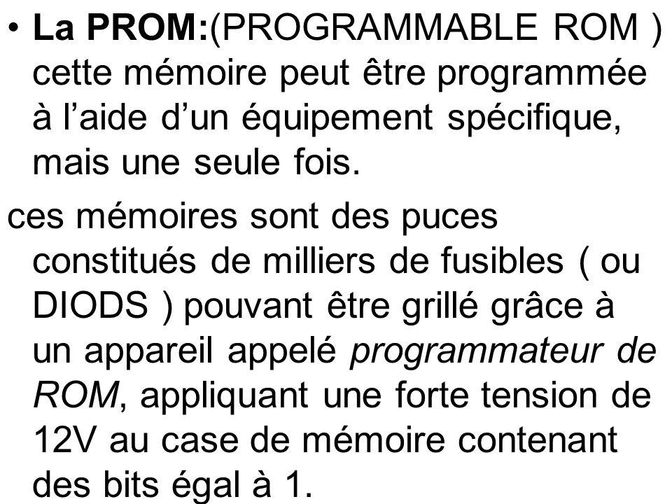 La PROM:(PROGRAMMABLE ROM ) cette mémoire peut être programmée à l'aide d'un équipement spécifique, mais une seule fois.