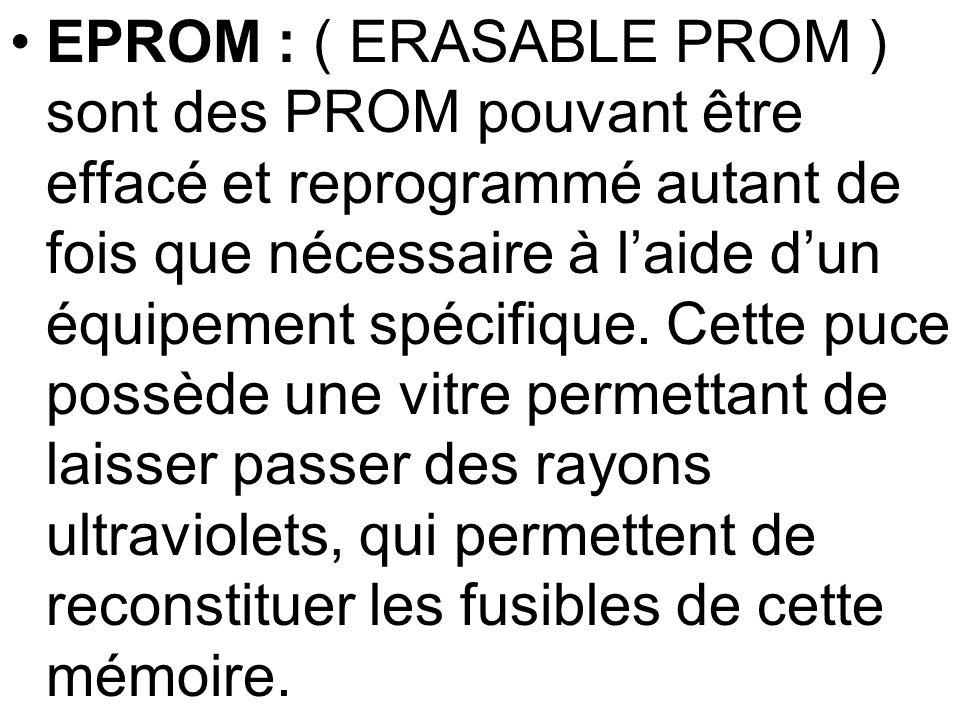EPROM : ( ERASABLE PROM ) sont des PROM pouvant être effacé et reprogrammé autant de fois que nécessaire à l'aide d'un équipement spécifique.