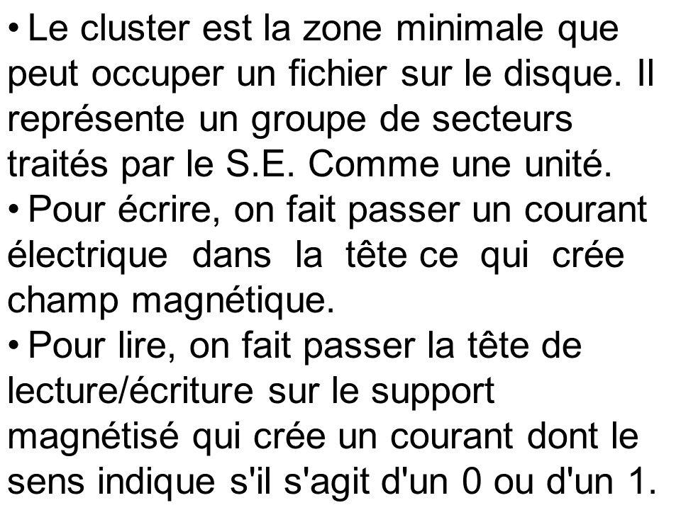 Le cluster est la zone minimale que peut occuper un fichier sur le disque. Il représente un groupe de secteurs traités par le S.E. Comme une unité.