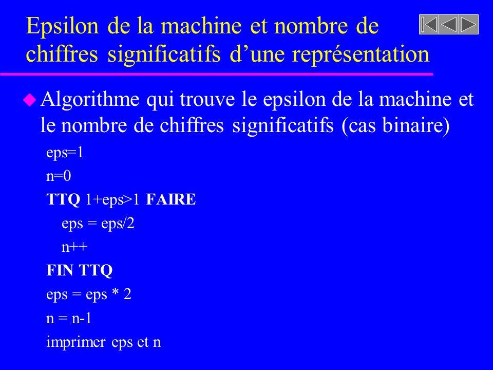 Epsilon de la machine et nombre de chiffres significatifs d'une représentation
