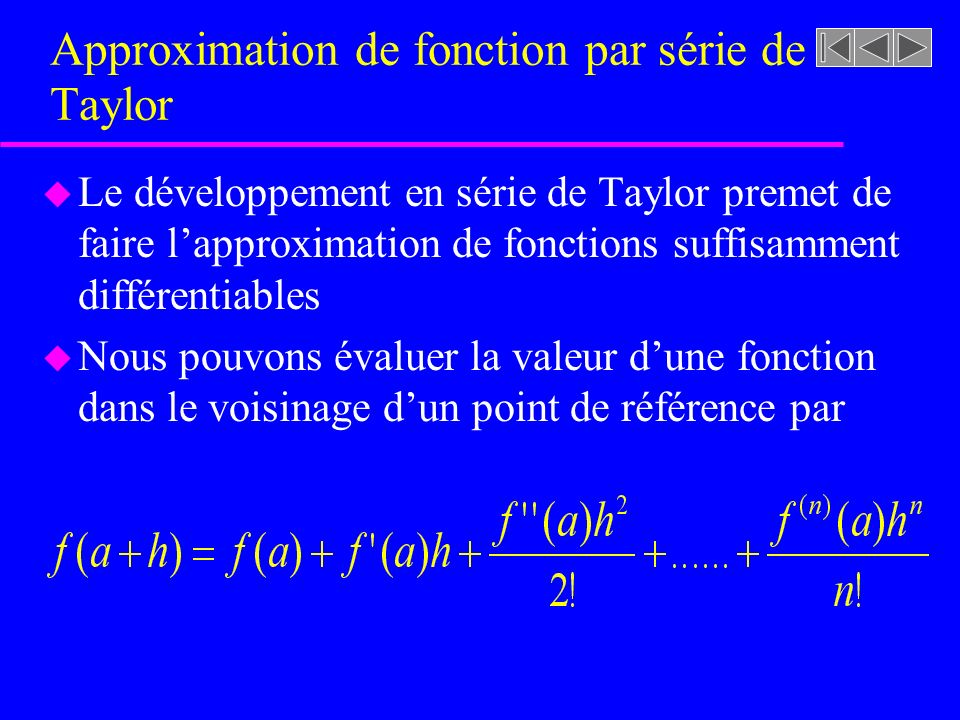 Approximation de fonction par série de Taylor