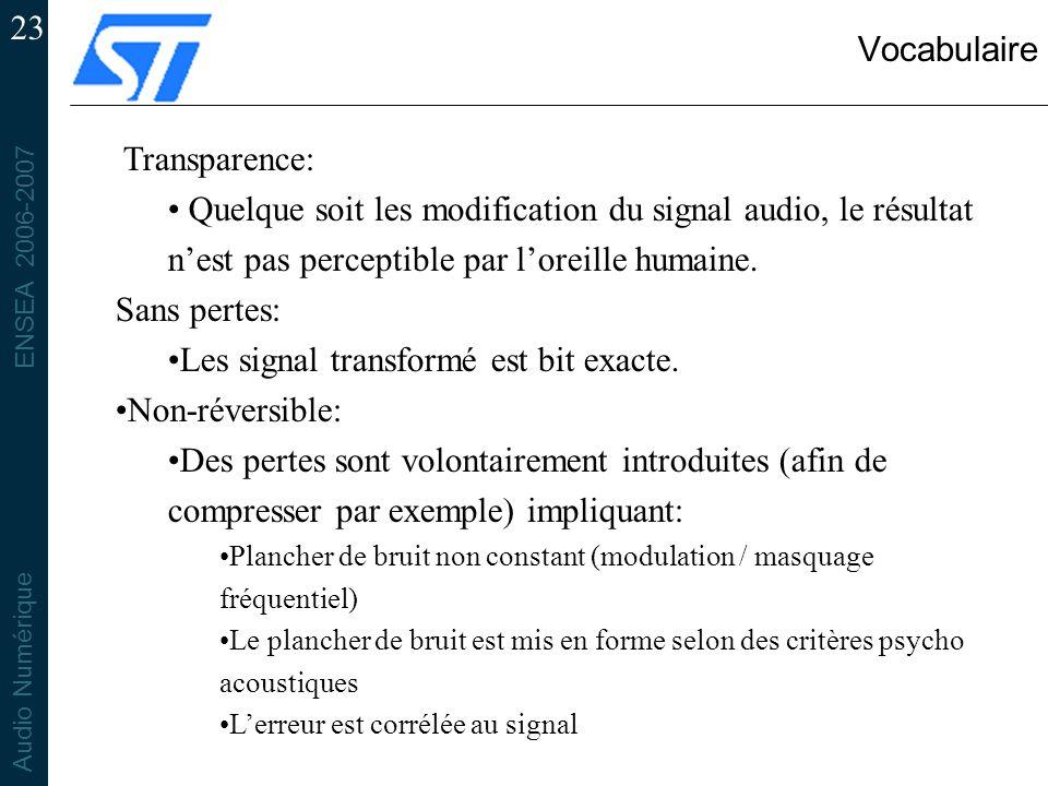 Les signal transformé est bit exacte. Non-réversible: