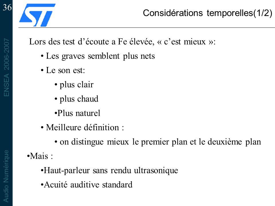 Considérations temporelles(1/2)