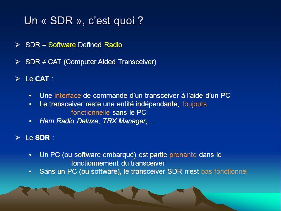 Un « SDR », c'est quoi SDR = Software Defined Radio