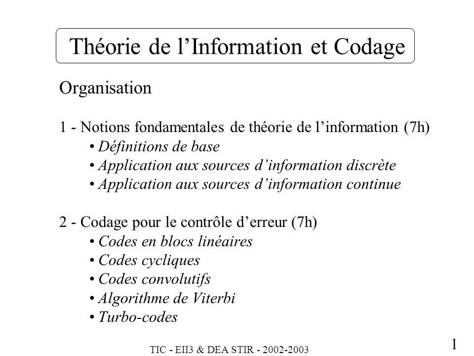 Théorie de l'Information et Codage