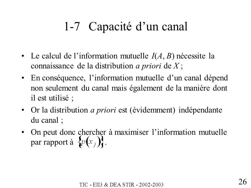 1-7 Capacité d'un canal Le calcul de l'information mutuelle I(A, B) nécessite la connaissance de la distribution a priori de X ;