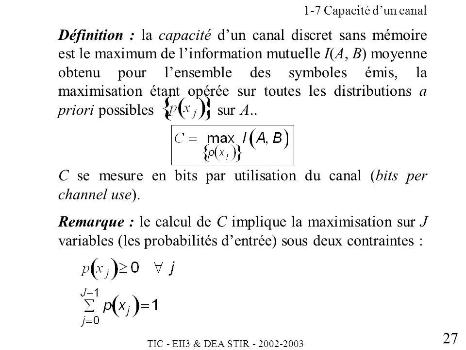C se mesure en bits par utilisation du canal (bits per channel use).