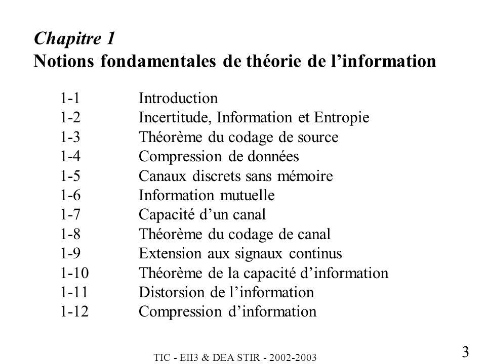 Chapitre 1 Notions fondamentales de théorie de l'information