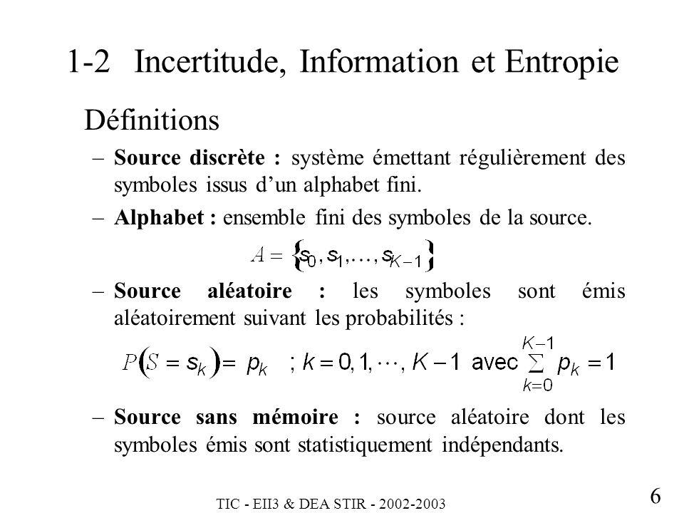 1-2 Incertitude, Information et Entropie