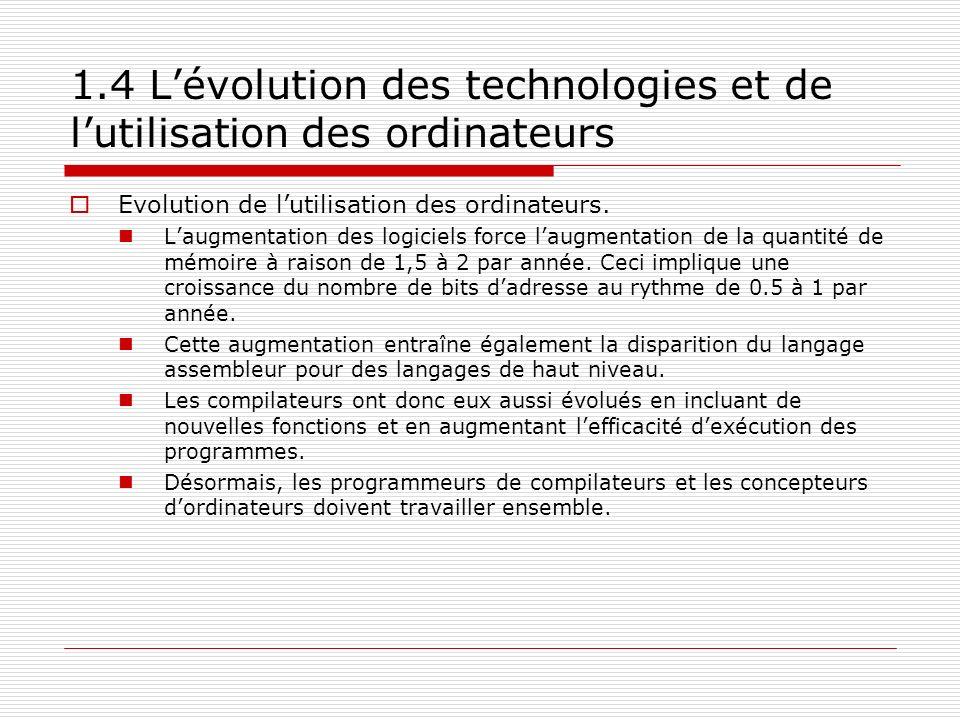 1.4 L'évolution des technologies et de l'utilisation des ordinateurs