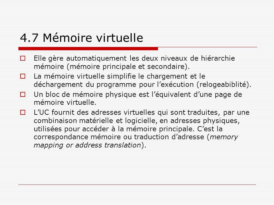 4.7 Mémoire virtuelle Elle gère automatiquement les deux niveaux de hiérarchie mémoire (mémoire principale et secondaire).