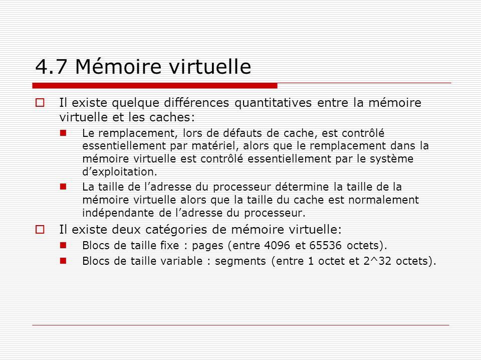 4.7 Mémoire virtuelle Il existe quelque différences quantitatives entre la mémoire virtuelle et les caches: