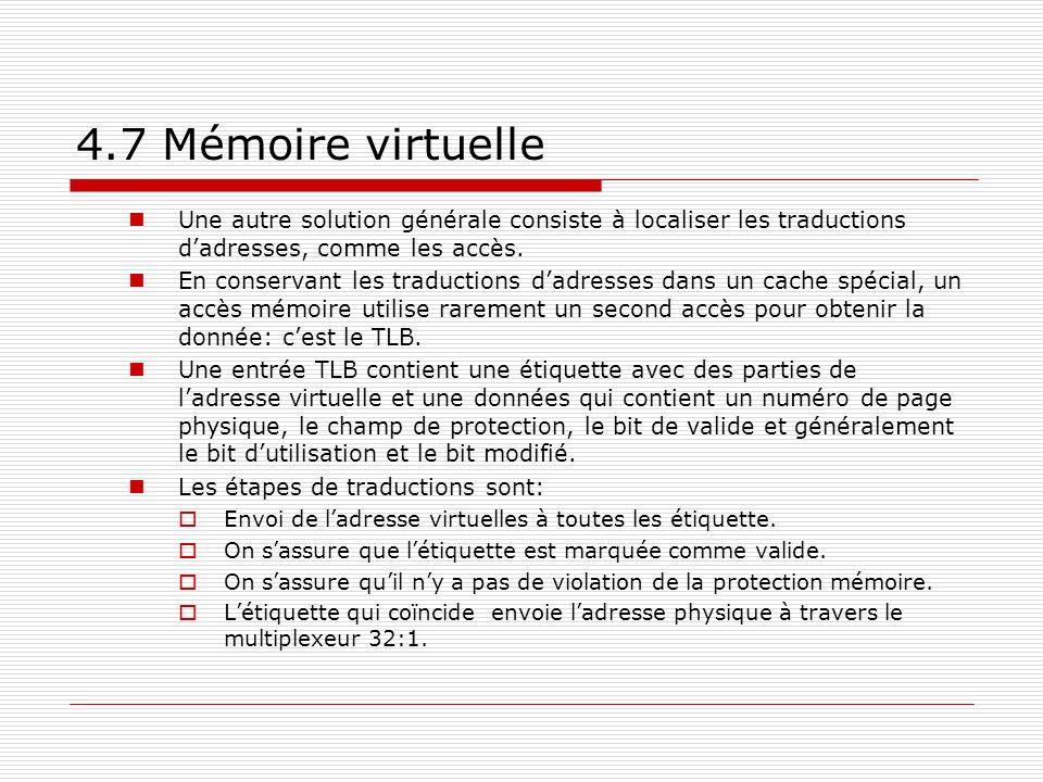 4.7 Mémoire virtuelle Une autre solution générale consiste à localiser les traductions d'adresses, comme les accès.