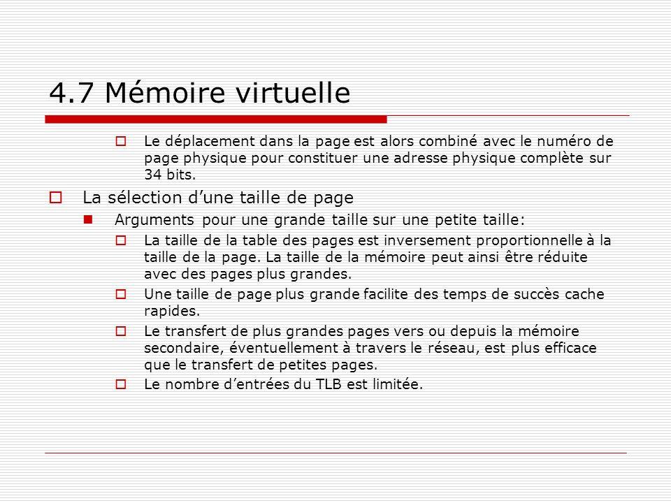 4.7 Mémoire virtuelle La sélection d'une taille de page