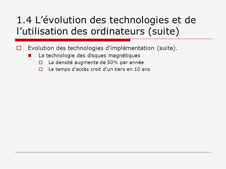 1.4 L'évolution des technologies et de l'utilisation des ordinateurs (suite)