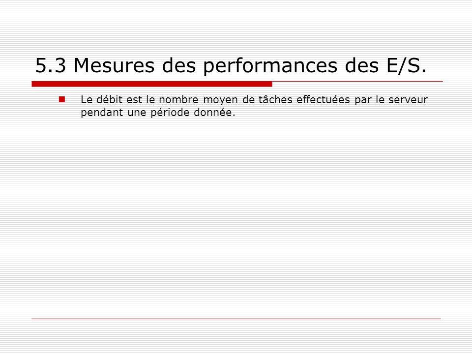 5.3 Mesures des performances des E/S.