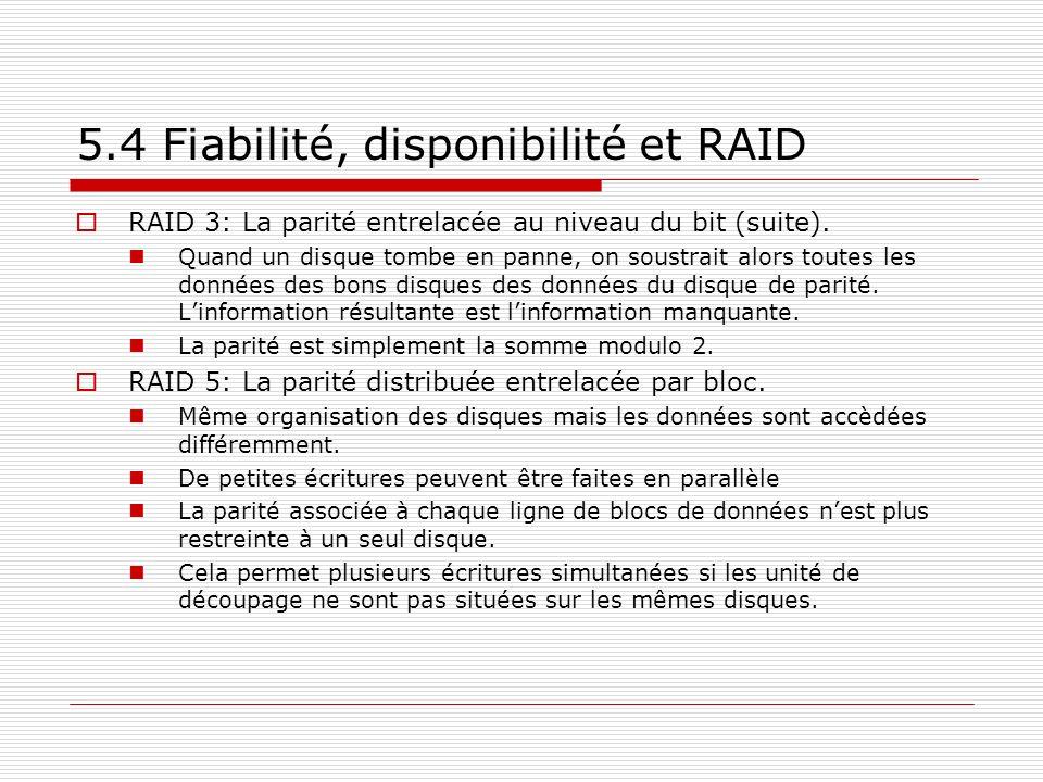 5.4 Fiabilité, disponibilité et RAID