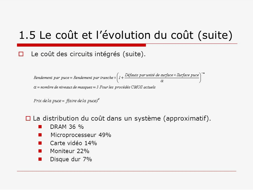 1.5 Le coût et l'évolution du coût (suite)