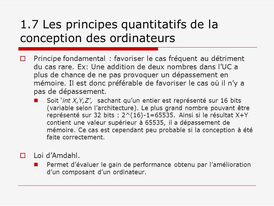 1.7 Les principes quantitatifs de la conception des ordinateurs
