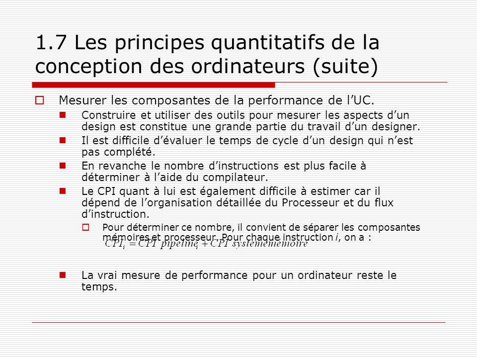 1.7 Les principes quantitatifs de la conception des ordinateurs (suite)