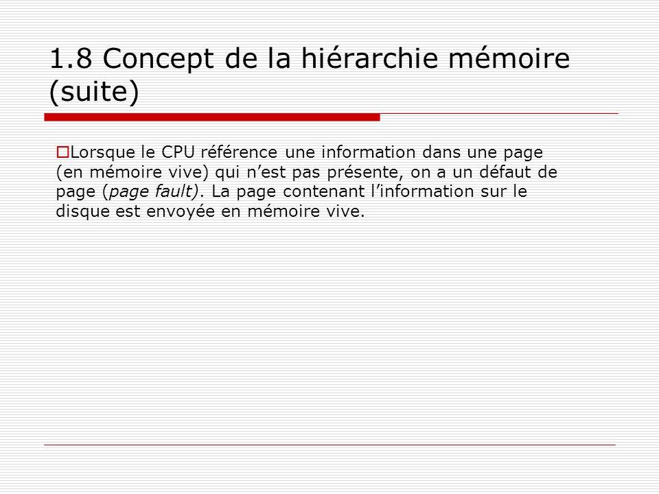 1.8 Concept de la hiérarchie mémoire (suite)
