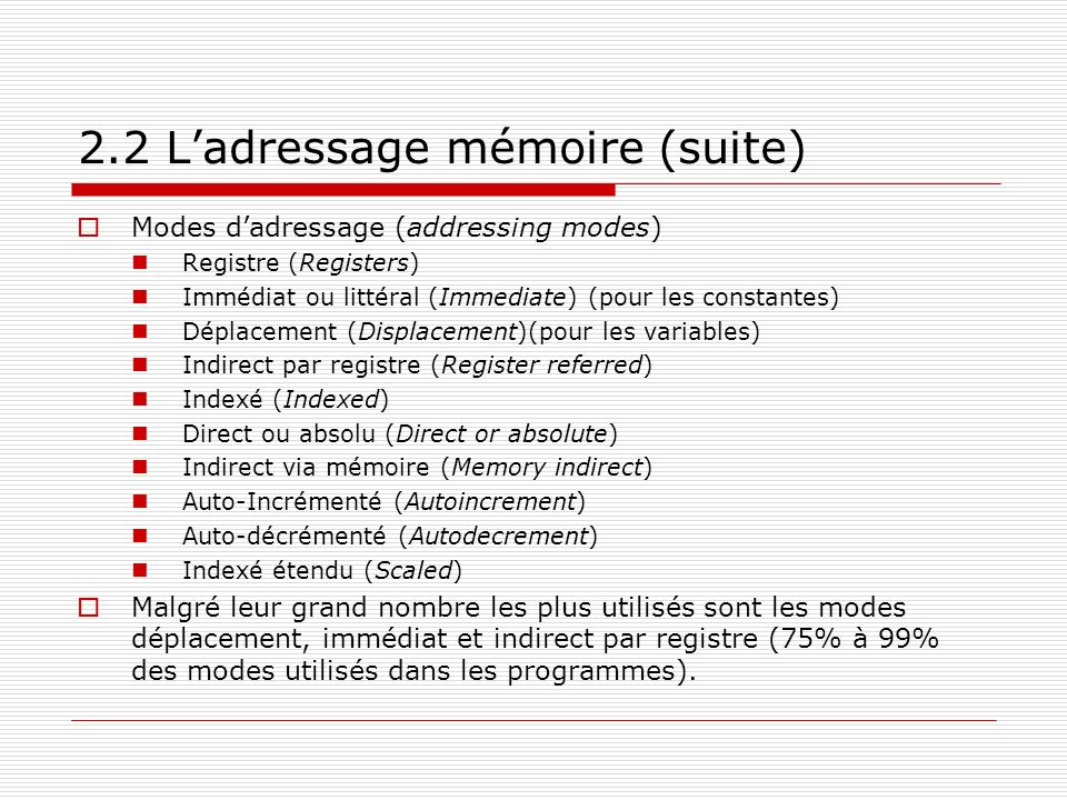 2.2 L'adressage mémoire (suite)
