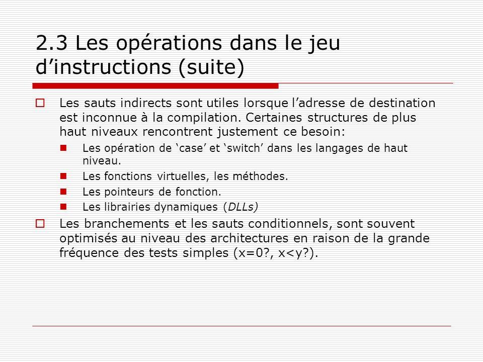 2.3 Les opérations dans le jeu d'instructions (suite)