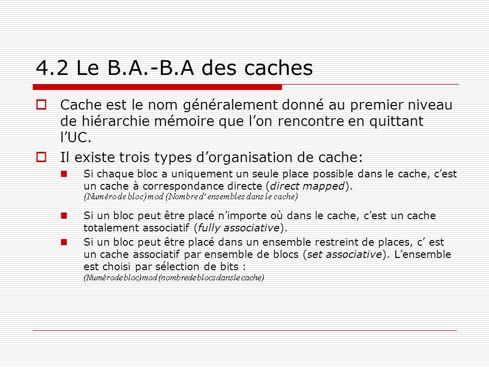 4.2 Le B.A.-B.A des caches Cache est le nom généralement donné au premier niveau de hiérarchie mémoire que l'on rencontre en quittant l'UC.